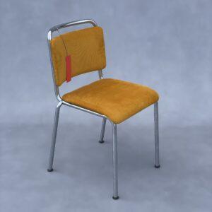 Gispen 106 Stoel gele manchester ribstof mat chroom Frame Stoelen Design Meubels Tweedehands Nieuw