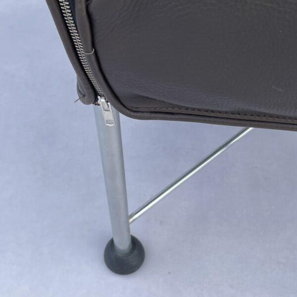 Montis Chaplin Flex Stoel (Rug Verstelbaar) Donkerbruin Leer/ Blauw Stiksel Stoelen Design Meubels Tweedehands Nieuw