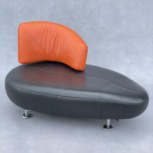 Leolux Kikko Fauteuil Zwart/Oranje Leer Banken Design Meubels Tweedehands Nieuw