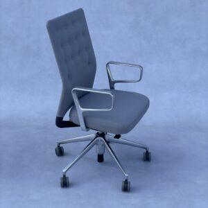 Vitra ID Trim Bureaustoel met Aluminium Armleggers donkergrijze stof Bureaustoelen Design Meubels Tweedehands Nieuw