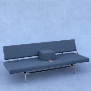 Spectrum BR 02 (Slaap)Bank met Armsteun muisgrijze stof met armsteun Banken Design Meubels Tweedehands Nieuw